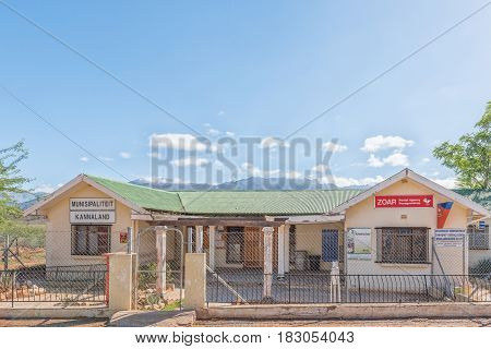 ZOAR SOUTH AFRICA - MARCH 25 2017: The postal agency and municipal offices in Zoar a village in the Western Cape Province