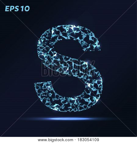 The Letter S Consists Of Points, Lines And Triangles. Vector Illustration.