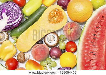 Various fresh fruits and vegetables close up