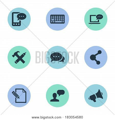 Vector Illustration Set Of Simple Newspaper Icons. Elements Share, Laptop, E-Letter And Other Synonyms Discussion, Message And Speaker.
