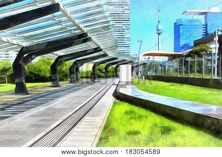 Modern cityscape at sunny day colorful painting, Vienna, Austria
