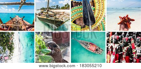 Islands lost in the ocean, primitive and simple life, boating and fishing, fauna, collage