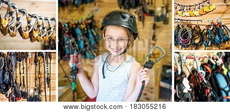 Little fully equiped girl ready for her belay high ropes course, recreative sport, collage