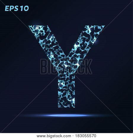 The Letter Y Consists Of Points, Lines And Triangles. Vector Illustration.