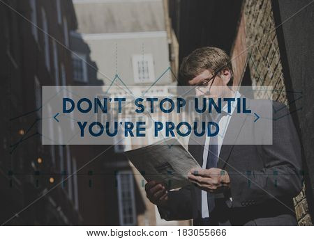 Don't Stop Goal Inspiration Business Guy