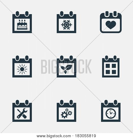 Vector Illustration Set Of Simple Date Icons. Elements Almanac, Planner, Snowflake And Other Synonyms Repair, Reminder And Special.