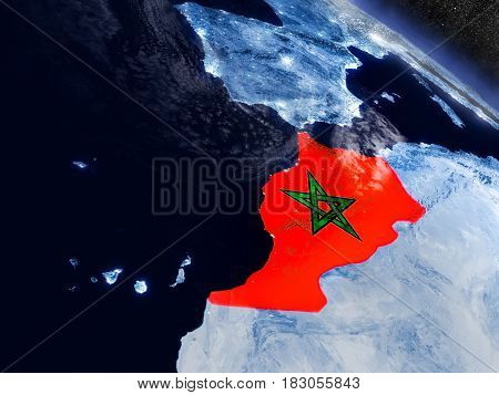 Morocco With Embedded Flag From Space