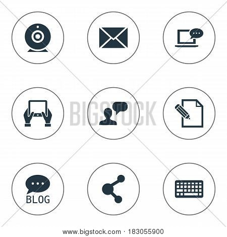 Vector Illustration Set Of Simple Newspaper Icons. Elements Broadcast, Man Considering, Document And Other Synonyms Camera, Message And Coming.