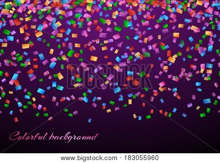 Anniversary celebration background with confetti party on the violet backdrop