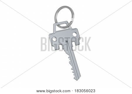 Car key with auto silhouette 3D rendering isolated on white background