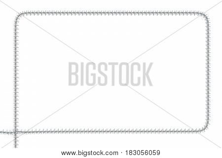 Frame from barbed wire 3D rendering isolated on white background