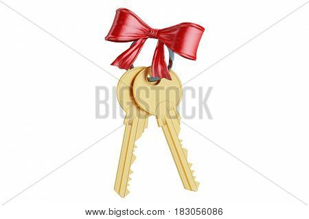 Golden keys with red bow 3D rendering isolated on white background