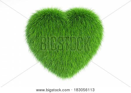 Grassy Heart 3D rendering isolated on white background