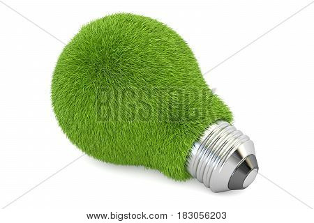green light bulb from glass eco concept. 3D rendering isolated on white background