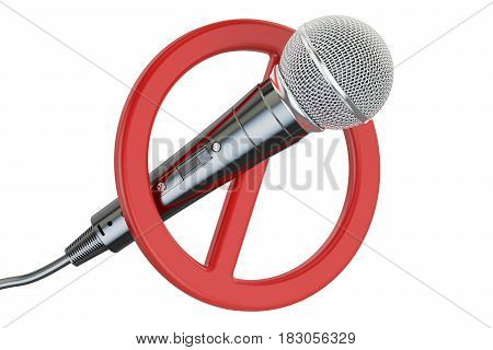 Microphone with forbidden symbol 3D rendering isolated on white background