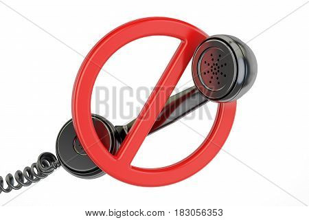 No phone call concept. Red prohibition symbol with telephone receiver 3D rendering isolated on white background