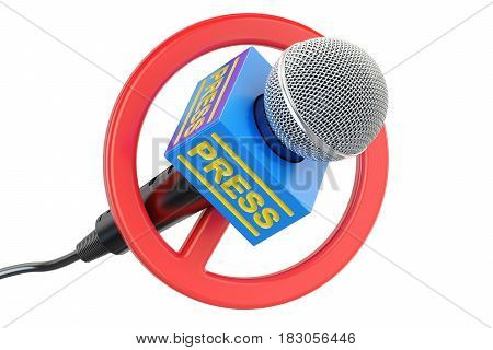 Press prohibition concept. Microphone with forbidden symbol 3D rendering isolated on white background