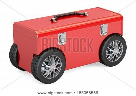 Toolbox on car wheels 3D rendering isolated on white background
