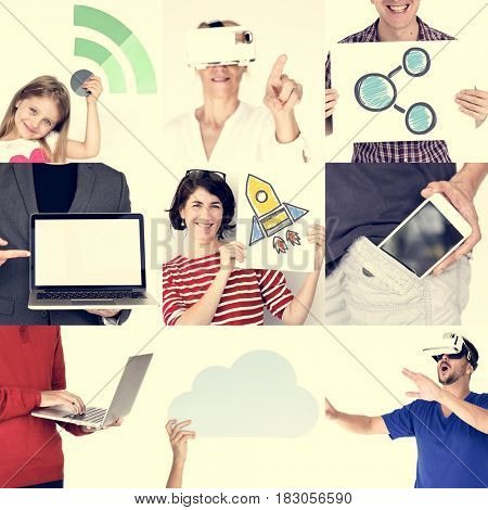 Set of Diversity People Using Digital Devices Technology Invention Studio Collage