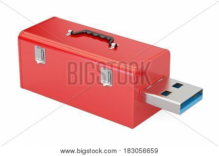 USB flash drive service and rescue concept. 3D rendering isolated on white background
