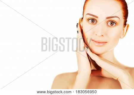 gorgeous red haired woman with large copy space