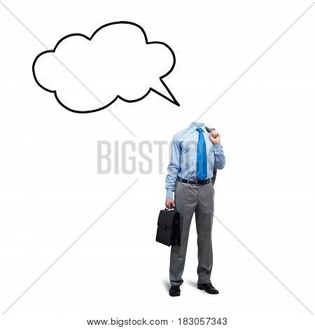 Faceless businessman on white background with speech bubble instead of head