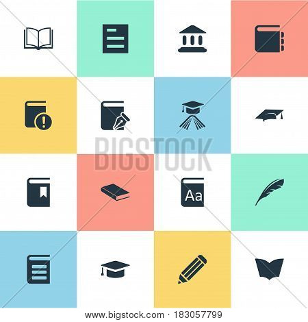 Vector Illustration Set Of Simple Education Icons. Elements Journal, Pen, Sketchbook And Other Synonyms Notepad, Cap And Dictionary.