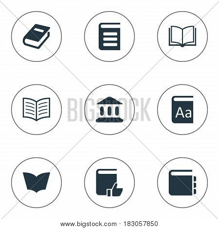 Vector Illustration Set Of Simple Reading Icons. Elements Book Page, Encyclopedia, Notebook And Other Synonyms Reading, Notepad And Favored.