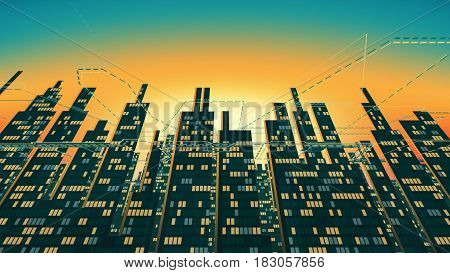 Aerial view of city skyscrapers silhouette with glowing Windows in the background of the shining sky. Simplified schematic silhouette of the night city