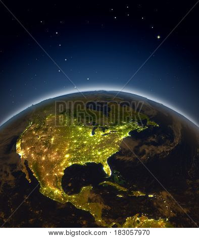 Central And North America At Night