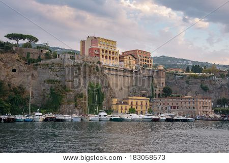 View of Marina Piccola in Sorrento at dusk Campania Italy