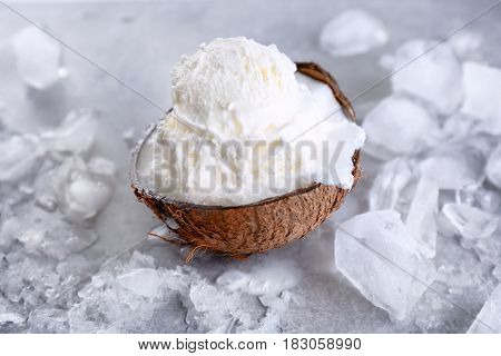 Fresh ball of ice cream in half of coconut and icy cubes on light background