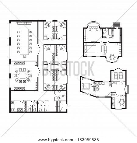 Modern office architectural plan interior furniture and construction design drawing project architect engineering sketch house vector illustration. Structure home technical reconstruction paper.