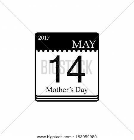 Calendar solid icon, mothers day for 2017, 14th may vector graphics, a filled pattern on a white background, eps 10.