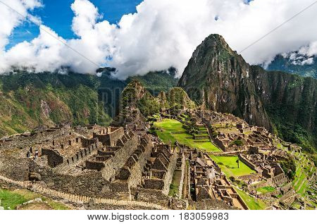 Machu Picchu, a Peruvian Historical Sanctuary in 1981 and a UNESCO World Heritage Site in 1983. One of the New Seven Wonders of the World. Lost city of Inkas in Peru mountains.