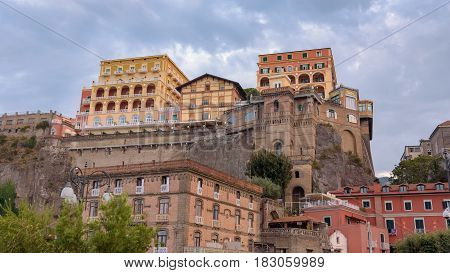 Panoramic view of colorful buildings in the port of Sorrento town in Italy