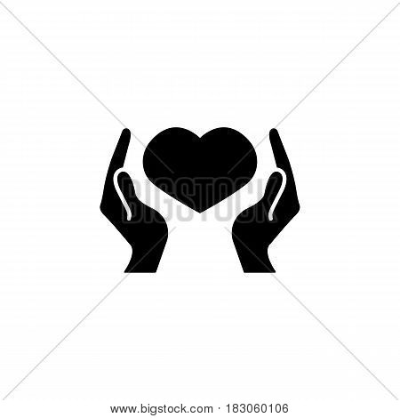 Hearth in hands solid icon, mothers day, mom care vector graphics, a filled pattern on a white background, eps 10.