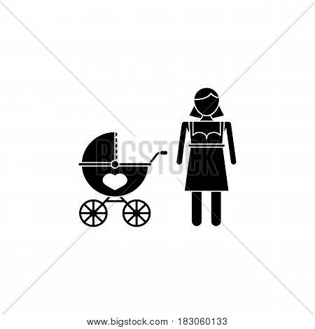 Woman with pram solid icon, mothers day, mom with stroller vector graphics, a filled pattern on a white background, eps 10.