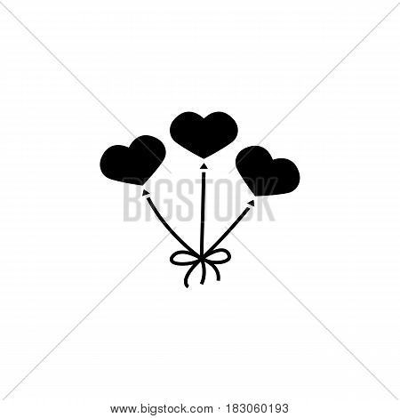 Balloons like heart solid icon, vector graphics, a filled pattern on a white background, eps 10.