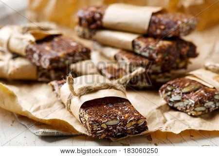 No-Cook Choco Oat Bars.style rustic. selective focus.