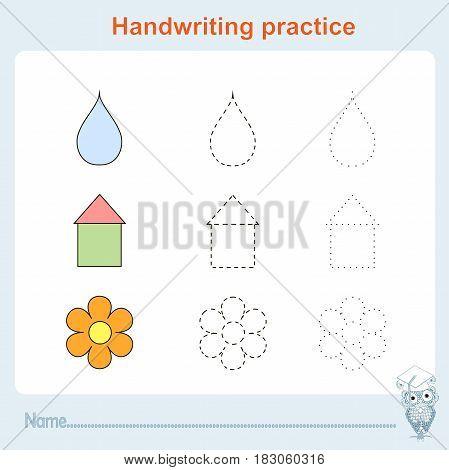 Handwriting practice, games kids, kids activity sheet, training writing practice stock vector illustration
