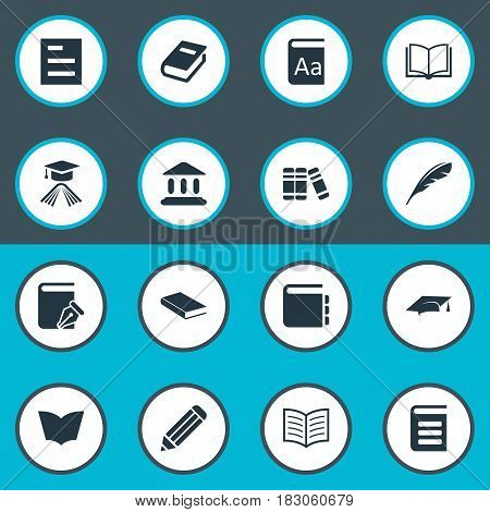 Vector Illustration Set Of Simple Reading Icons. Elements Bookshelf, Notebook, Tasklist And Other Synonyms Dictionary, Feather And Building.
