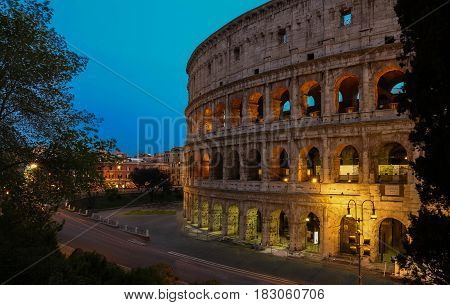 The Colosseum is an oval amphitheatre in the centre of the city of Rome Italy. Built of concrete and sand it is the largest amphitheatre ever built.