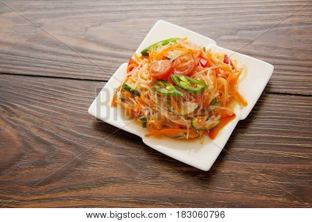 funchoza salad of rice noodles and marinated vegetables