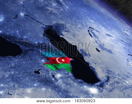 Azerbaijan With Embedded Flag From Space