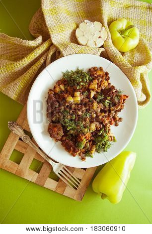 fried ragout with sliced beefpotato and vegetables