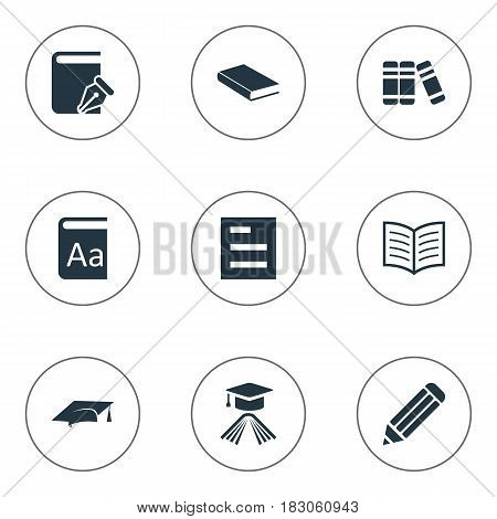 Vector Illustration Set Of Simple Books Icons. Elements Graduation Hat, Bookshelf, Pen And Other Synonyms Pen, Literature And Document.