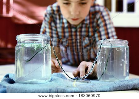Boy Make  Chemical Test With Carbonated Water  Cristal Growth