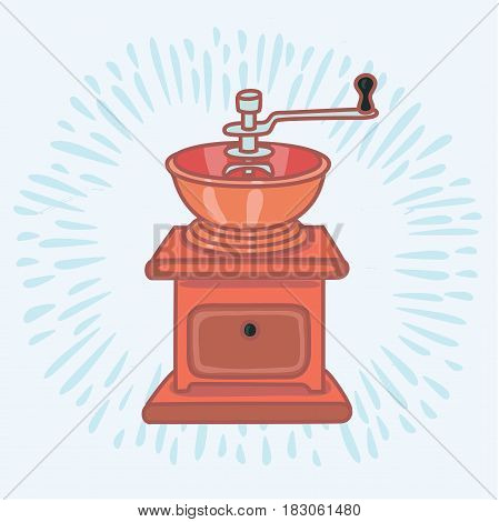 Color vector outline illustration of manual brass coffee grinder icon