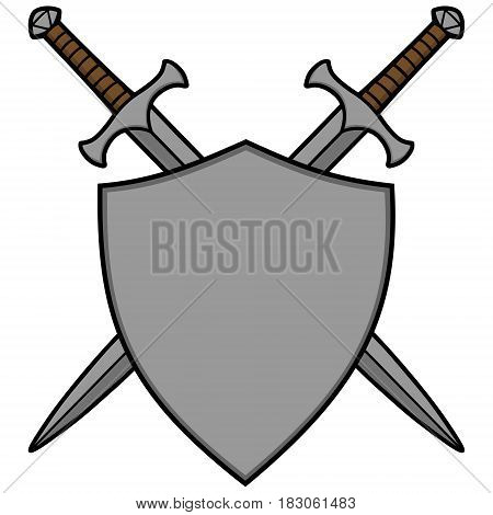 A vector illustration of some Crossed Swords and a shield.